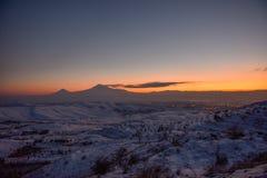 Ararat mountain in the winter sunset,Armenia. The Ararat mountain in the winter sunset,Armenia royalty free stock photography