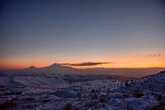Ararat mountain in the winter sunset,Armenia. The Ararat mountain in the winter sunset,Armenia royalty free stock image