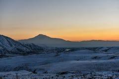 Ararat mountain in the winter sunset,Armenia. The Ararat mountain in the winter sunset,Armenia stock photos