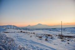 Ararat mountain in the winter sunset,Armenia. The Ararat mountain in the winter sunset,Armenia stock image