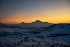 Ararat mountain in the winter sunset,Armenia. The Ararat mountain in the winter sunset,Armenia stock photo
