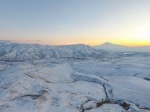 Ararat mountain in the winter sunset,Armenia. The Ararat mountain in the winter sunset,Armenia royalty free stock photos