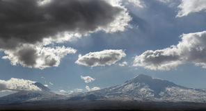 Ararat mountain Yerevan, Armenia. Cloudy sky over Ararat mountain seen from Yerevan, Armenia Royalty Free Stock Photography