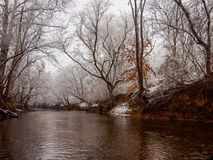 Ararat River running through Mount Airy, NC. A beautiful snowy day in Mount Airy, North Carolina in the Ararat river Stock Photos