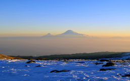 Ararat in sunrise. Ararat is Bible mountain which is the symbol of armenian people Stock Photography