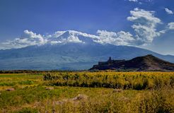 Ararat valley, Armenia. Khor Virap monastery in front of Mount Ararat Royalty Free Stock Photo