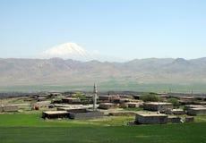 Ararat, wioska i minaret, Zdjęcie Stock