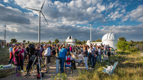 Aras de los olmos. VALENCIA - JUNE 11: Unidentified people participates in the astronomy spreading open day in Aras de los Olmos, Valencia on June 11, 2016 in Stock Image