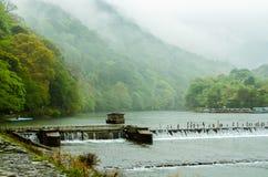 Arashi mountain and Kasura river. After rain, the Kasura river and Arashi mounain are mysterious Stock Photo