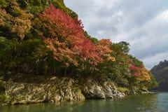 Arashiyama京都看法在秋天期间的 库存照片