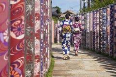 Arashiyama,京都,日本- 2017年9月18日:两有和服的妇女通过与传统和服布料的杆走 库存图片