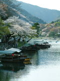 Arashiyama. Japanese boats on a river in Kyoto Royalty Free Stock Images