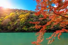 Arashiyama in autumn season along the river in Kyoto, Japan.  Stock Photo