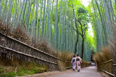 Arashiyama Bamboo Forest. Two women in traditional kimono walk through Kyoto`s Arashiyama Bamboo Forest. This particular Bamboo forest is one of Kyoto`s most Royalty Free Stock Images