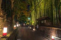 Arashiyama Bamboo Grove Zen garden light up at night. A natural forest of bamboo in Arashiyama, Kyoto, Japan royalty free stock photo