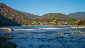 Arashiyama in beautiful autumn season colours. Arashiyama in beautiful autumn season colours, Kyoto, Japan Stock Photo