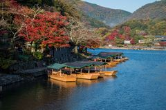 Arashiyama in beautiful autumn season colours. Arashiyama in beautiful autumn season colours, Kyoto, Japan Stock Image