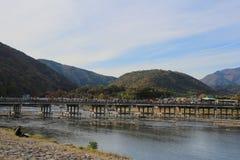 Arashiyama Bridge in Kyoto , Japan. The Arashiyama Bridge in Kyoto , Japan Royalty Free Stock Image