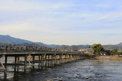 Arashiyama Bridge in Kyoto , Japan. The Arashiyama Bridge in Kyoto , Japan Stock Photo