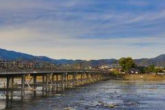 Arashiyama Bridge in Kyoto , Japan. The Arashiyama Bridge in Kyoto , Japan Royalty Free Stock Photos