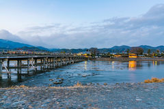 Arashiyama bridge at night Royalty Free Stock Photos