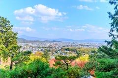 Arashiyama cityscape view in autumn season. Arashiyama cityscape viewpoint from Jojakkoji temple landmark in autumn season, Japan Stock Photo