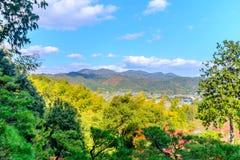 Arashiyama cityscape view in autumn season. Arashiyama cityscape viewpoint from Jojakkoji temple landmark in autumn season, Japan Stock Photos