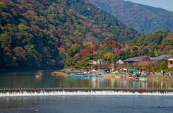 Arashiyama and Hozu river in beautiful autumn season. Arashiyama and Hozu river in beautiful autumn season, Kyoto, Japan Royalty Free Stock Photography
