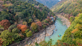 Arashiyama and Hozu river. Beautiful landscape of Arashiyama and Hozu river in autumn season Royalty Free Stock Photo