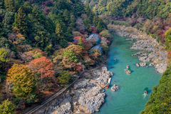 Arashiyama and Hozu river. Beautiful landscape of Arashiyama and Hozu river in autumn season Royalty Free Stock Photos