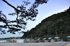 Arashiyama,一个旅游区域在京都, Jap的西北部分 库存图片
