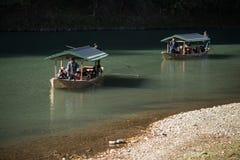 Arashiyama, Japan-27 Nov 2015: Group of Tourists cruising in the. River at Arashiyama on 27 Nov Stock Photo