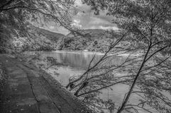 Arashiyama Katsura River Kyoto Japan In Black And White.  Stock Photos