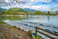 Arashiyama Katsura River Kyoto Japan. Tourist boats on the foreground Stock Photography