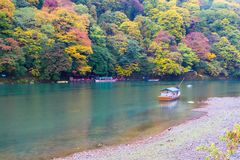 Arashiyama Kyoto Japan during autumn. A rainy day at the Arashiyama area in Kyoto, Japan on November 2015 Royalty Free Stock Images