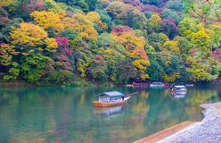 Arashiyama Kyoto Japan during autumn. A rainy day at the Arashiyama area in Kyoto, Japan on November 2015 Stock Image