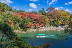 Arashiyama. Kyoto, Japan - November 23, 2018: Arashiyama and Katsura river is the famous destination for tourist in autumn of japan. Many tourists come to see royalty free stock photography