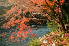 Sailng tourist boat in autumn, Arashiyama. ARASHIYAMA, KYOTO, JAPAN - NOVEMBER 23, 2016: Unidentified people on sailng wooden tourist boat to enjoy autumn Stock Photography