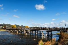 People on Togetsukyo bridge, Arashiyama Royalty Free Stock Photography