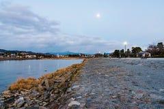 Arashiyama Kyoto przy nocą obrazy royalty free