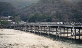 Arashiyama most w Kyoto, Japonia Obraz Stock