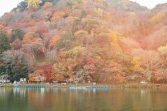 Arashiyama mountain autumn season water lake. Natural landscape background Japan Royalty Free Stock Photos