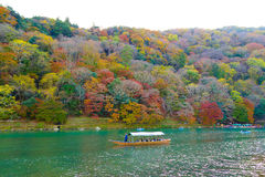 Arashiyama Mountain and the Oi River Stock Photo