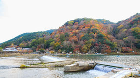 Arashiyama Mountain and the Oi River, Kyoto. Japan Royalty Free Stock Photo