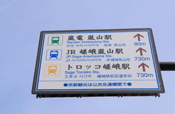 Arashiyama train information Kyoto Japan. Arashiyama train information board in Kyoto Japan Stock Photo