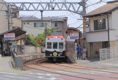 Arashiyama train Kyoto Japan. People travel by Arashiyama train in Kyoto Stock Image