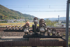 Arashiyama train station. The animal doll at arashiyama train station Stock Photos