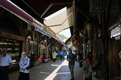 Arasta Bazaar. Istanbul, Turkey - September 20, 2015: Tourists and local people visit Arasta Bazaar in Istanbul, Turkey Stock Images