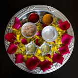 Arati Thali. A colorful decorated Arati Thali. Arati Thali is used on auspicious occassions Royalty Free Stock Photography