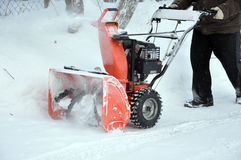 Aratro di neve nel lavoro Fotografie Stock